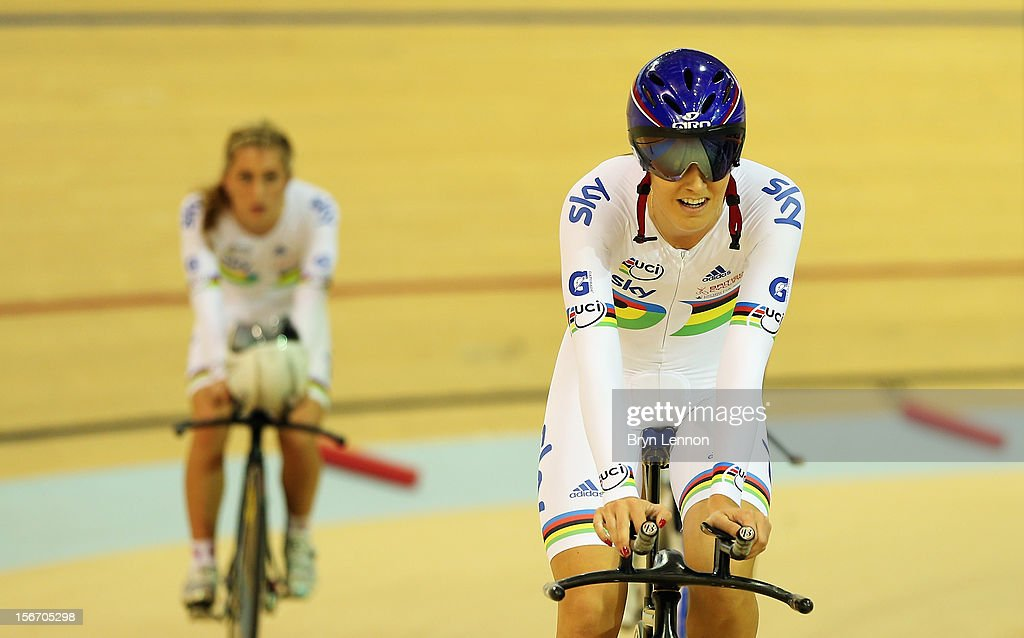 <a gi-track='captionPersonalityLinkClicked' href=/galleries/search?phrase=Dani+King+-+Cyclist&family=editorial&specificpeople=7505449 ng-click='$event.stopPropagation()'>Dani King</a> of Great Britain rides around the track apron after the Women's Team Pursuit qualifying session on day one of the UCI Track Cycling World Cup at the Sir Chris Hoy Velodrome on November 16, 2012 in Glasgow, Scotland.