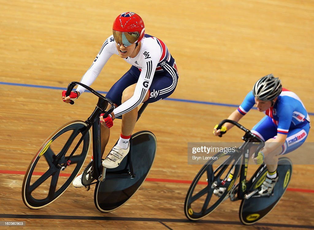 <a gi-track='captionPersonalityLinkClicked' href=/galleries/search?phrase=Dani+King&family=editorial&specificpeople=7505449 ng-click='$event.stopPropagation()'>Dani King</a> of Great Britain rides in the Women's Scratch Race Final during day three of the 2013 UCI Track World Championships at the Minsk Arena on February 22, 2013 in Minsk, Belarus.