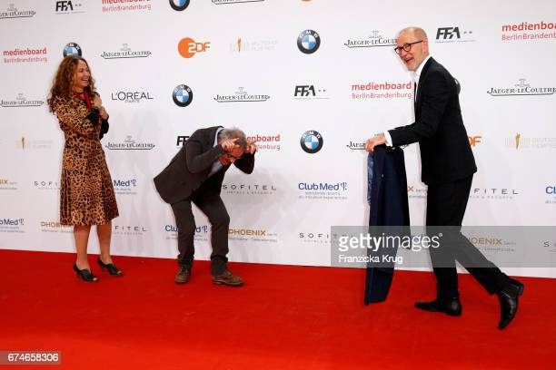Dani Levy his wife Sabine Liedl and Peter Lohmeyer during the Lola German Film Award red carpet arrivals at Messe Berlin on April 28 2017 in Berlin...