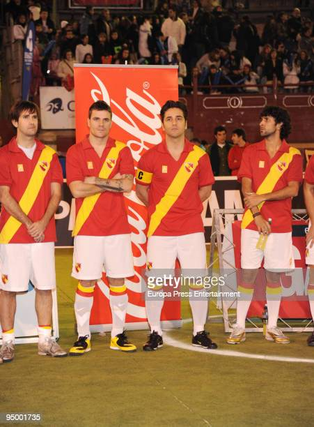 Dani Martin and David Bustamante seen playing during a charity football match between singers and ex football players on December 22 2009 in Madrid...