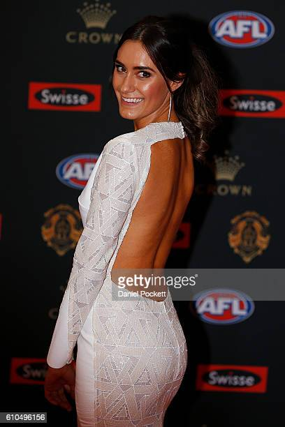 Dani Orlando partner of Luke Shuey of the Eagles arrives ahead of the 2016 Brownlow Medal at Crown Entertainment Complex on September 26 2016 in...