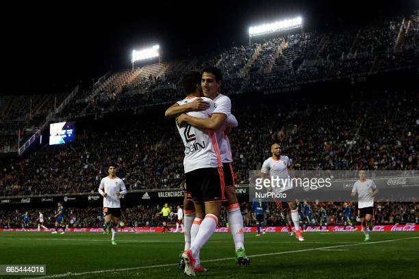 Dani Parejo of Valencia CF celebrates after scoring a goal with Joao Cancelo of Valencia CF during the La Liga match between Valencia CF and Real...