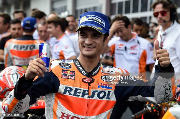 Dani Pedrosa celebrate the third place during MotoGP Grand Prix of Austria at Red Bull Ring Spielberg Austria