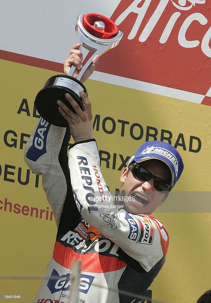 Dani Pedrosa from Spain celebrates his victory after the German Moto Grand Prix at the Sachsenring Racetrack on July 15 2007 near Chemnitz Germany