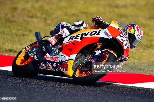 Dani Pedrosa of Repsol Honda Team going through a curve during the Free Practice 3 Moto GP of Catalunya at Circuit de Catalunya on June 10 2017 in...