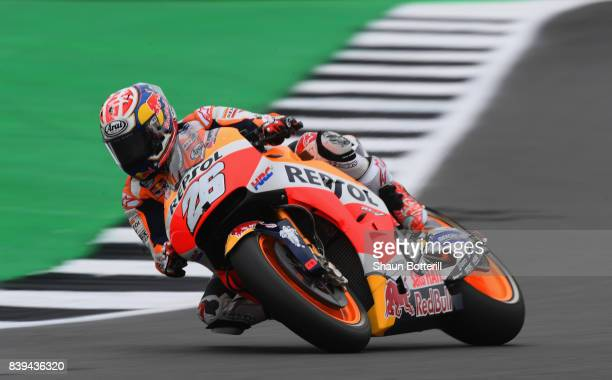 Dani Pedrosa of Spain and Repsol Honda during Free Practice 3 at Silverstone Circuit on August 26 2017 in Northampton England