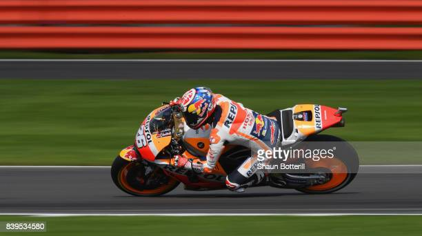 Dani Pedrosa of Spain and Repsol Honda during Free Practice 4 at Silverstone Circuit on August 26 2017 in Northampton England