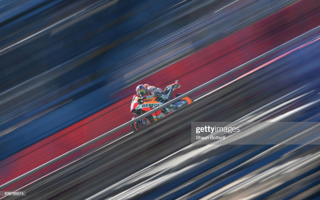 Dani Pedrosa of Spain and Repsol Honda during Warm Up at Silverstone Circuit on August 27, 2017 in Northampton, England.