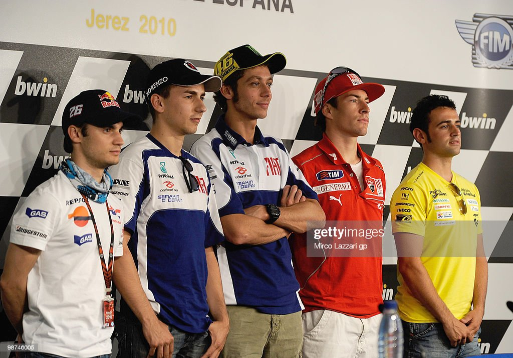 Dani Pedrosa of Spain and Repsol Honda Team and <a gi-track='captionPersonalityLinkClicked' href=/galleries/search?phrase=Jorge+Lorenzo&family=editorial&specificpeople=543869 ng-click='$event.stopPropagation()'>Jorge Lorenzo</a> of Spain and Fiat Yamaha Team and <a gi-track='captionPersonalityLinkClicked' href=/galleries/search?phrase=Valentino+Rossi&family=editorial&specificpeople=157603 ng-click='$event.stopPropagation()'>Valentino Rossi</a> of Italy and Fiat Yamaha Team and <a gi-track='captionPersonalityLinkClicked' href=/galleries/search?phrase=Nicky+Hayden+-+Motorcycle+Racer&family=editorial&specificpeople=227346 ng-click='$event.stopPropagation()'>Nicky Hayden</a> of USA and Ducati Marlboro Team and Hector Barbera of Spain and Team Aspar pose during the press conference pre-event at Circuito de Jerez on April 29, 2010 in Jerez de la Frontera, Spain.