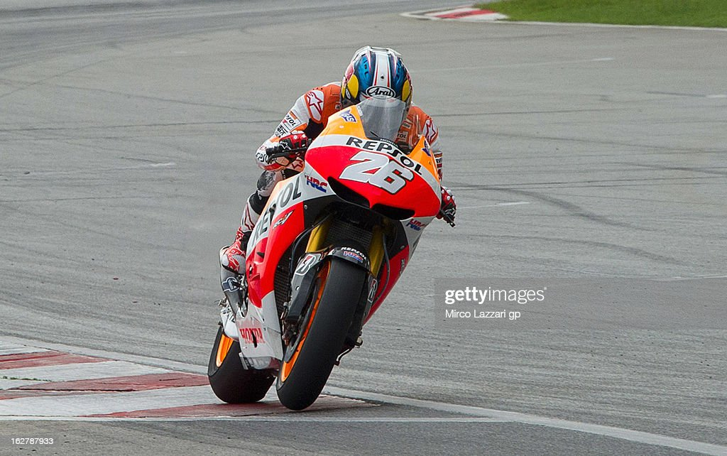 Dani Pedrosa of Spain and Repsol Honda Team heads down a straight during the MotoGP Tests in Sepang - Day Two at Sepang Circuit on February 27, 2013 in Kuala Lumpur, Malaysia.