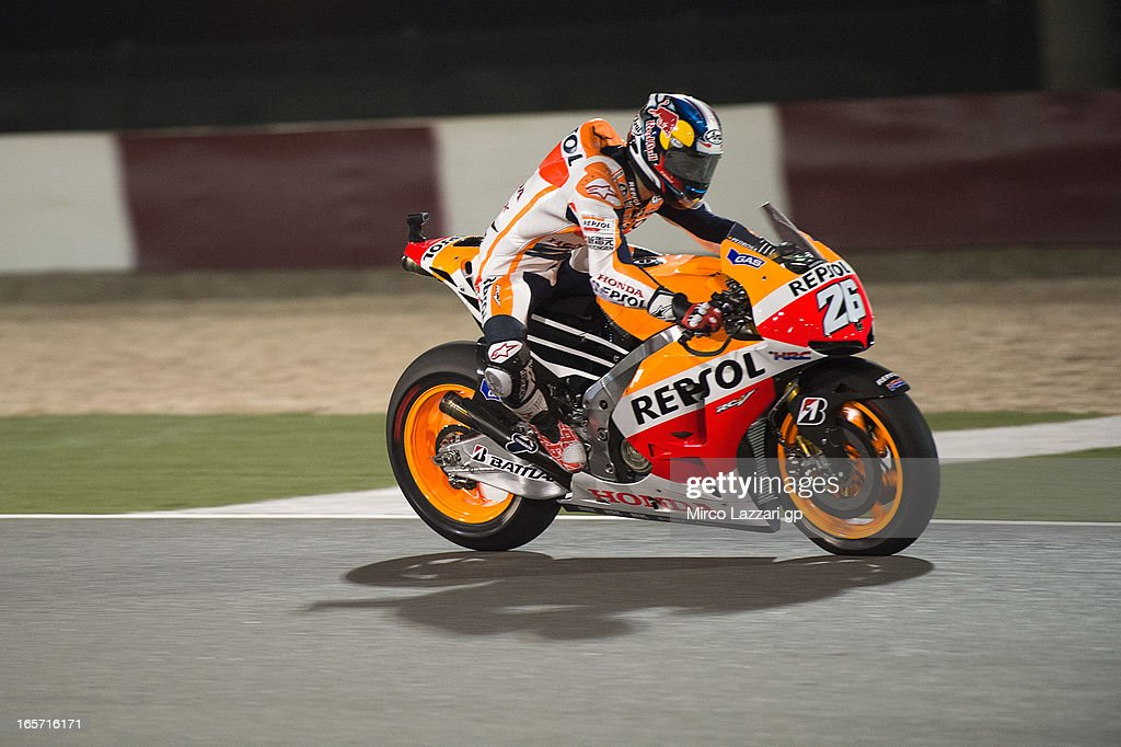 Dani Pedrosa of Spain and Repsol Honda Team heads down a straight during the MotoGp of Qatar - Free Practice at Losail Circuit on April 5, 2013 in Doha, Qatar.