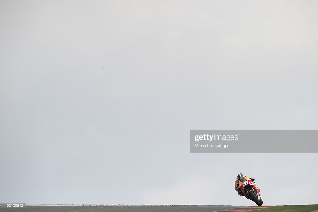 Dani Pedrosa of Spain and Repsol Honda Team heads down a straight during the MotoGP race during the MotoGp of Germany - Race at Sachsenring Circuit on July 13, 2014 in Hohenstein-Ernstthal, Germany.