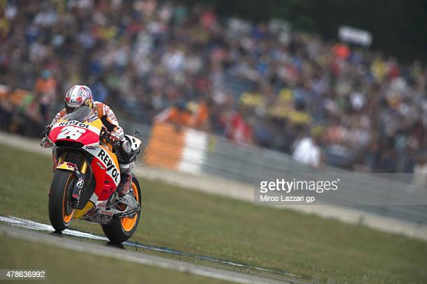 Dani Pedrosa of Spain and Repsol Honda Team heads down a straight during the MotoGP Netherlands Qualifying at TT Assen Circuit on June 26 2015 in...