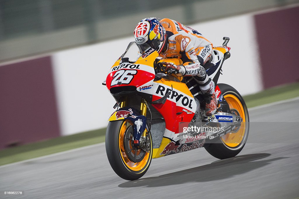 Dani Pedrosa of Spain and Repsol Honda Team heads down a straight during the qualifying practice during the MotoGp of Qatar - Qualifying at Losail Circuit on March 19, 2016 in Doha, Qatar.