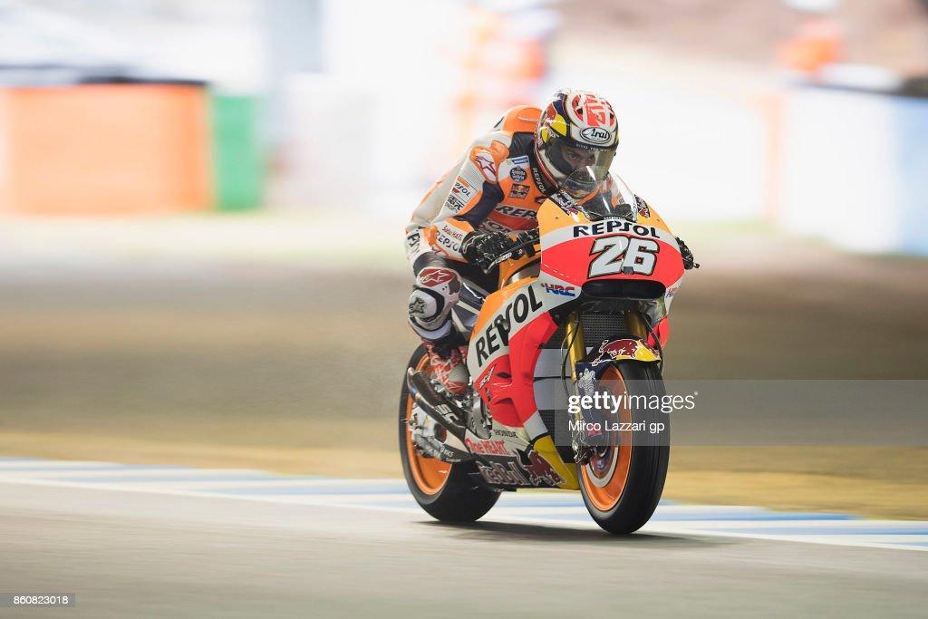 Dani Pedrosa of Spain and Repsol Honda Team heads down a straight during the MotoGP of Japan - Free Practice at Twin Ring Motegi on October 13, 2017 in Motegi, Japan.