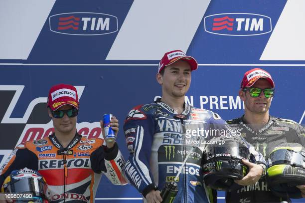 Dani Pedrosa of Spain and Repsol Honda Team Jorge Lorenzo of Spain and Yamaha Factory Racing and Cal Crutchlow of Great Britain and Monster Yamaha...