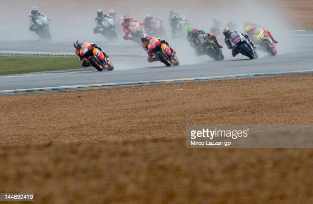 Dani Pedrosa of Spain and Repsol Honda Team leads the field during the French MotoGP race on May 20 2012 in Le Mans France