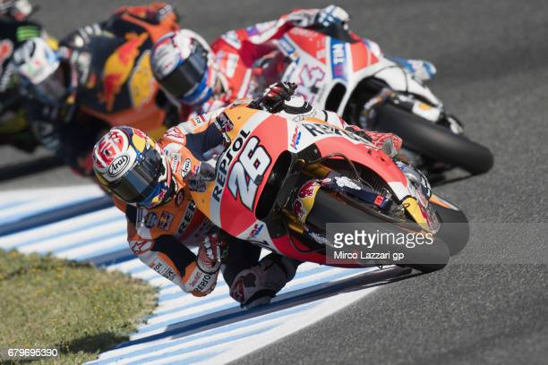 Dani Pedrosa of Spain and Repsol Honda Team leads the field during the MotoGp of Spain Qualifying at Circuito de Jerez on May 6 2017 in Jerez de la...