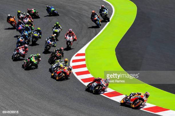 Dani Pedrosa of Spain and Repsol Honda Team leads the pack during the MotoGp of Catalunya at Circuit de Catalunya on June 11 2017 in Montmelo Spain