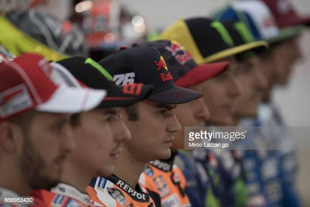 Dani Pedrosa of Spain and Repsol Honda Team looks on during the 2017 MotoGP riders official photo during the MotoGp of Qatar Free Practice at Losail...