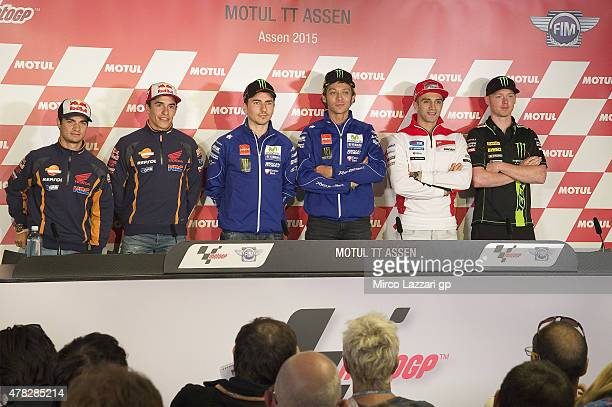 Dani Pedrosa of Spain and Repsol Honda Team Marc Marquez of Spain and Repsol Honda Team Jorge Lorenzo of Spain and Movistar Yamaha MotoGP Valentino...