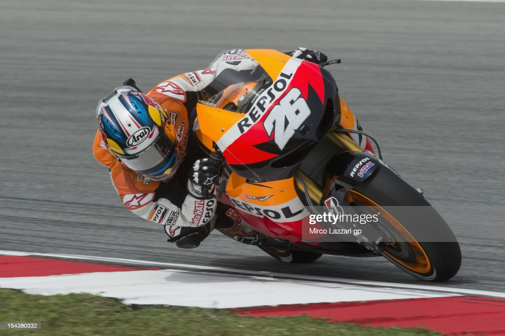 Dani Pedrosa of Spain and Repsol Honda Team rounds the bend during the free practice of the MotoGP Of Malaysia at Sepang Circuit on October 19, 2012 in Kuala Lumpur, Malaysia.