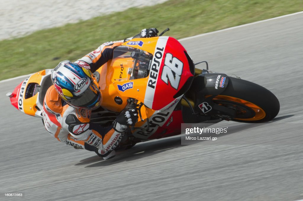 Dani Pedrosa of Spain and Repsol Honda Team rounds the bend during the MotoGP Tests in Sepang - Day Five at Sepang Circuit on February 7, 2013 in Kuala Lumpur, Malaysia.