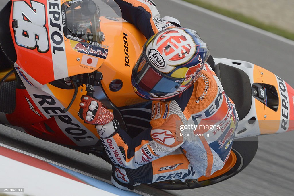 Dani Pedrosa of Spain and Repsol Honda Team rounds the bend during the MotoGp of Czech Republic - Free Practice at Brno Circuit on August 19, 2016 in Brno, Czech Republic.
