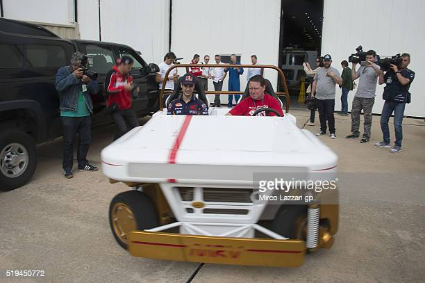 Dani Pedrosa of Spain and Repsol Honda Team tests a space vehicle during the preevent 'MotoGP Riders Visit The NASA Johnson Space Center' at Lyndon B...