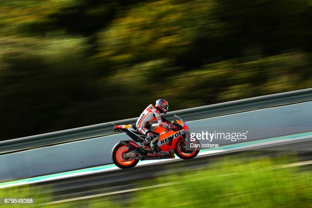 Dani Pedrosa of Spain and the Repsol Honda Team rides during final practice for the MotoGP of Spain at Circuito de Jerez on May 6 2017 in Jerez de la...