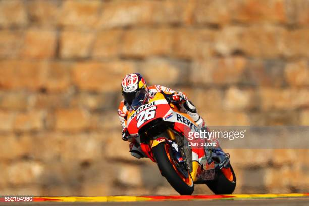 Dani Pedrosa of Spain and the Repsol Honda Team rides during practice for the MotoGP of Aragon at Motorland Aragon Circuit on September 23 2017 in...
