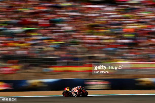 Dani Pedrosa of Spain and the Repsol Honda Team rides during warmup for the MotoGP of Spain at Circuito de Jerez on May 7 2017 in Jerez de la...