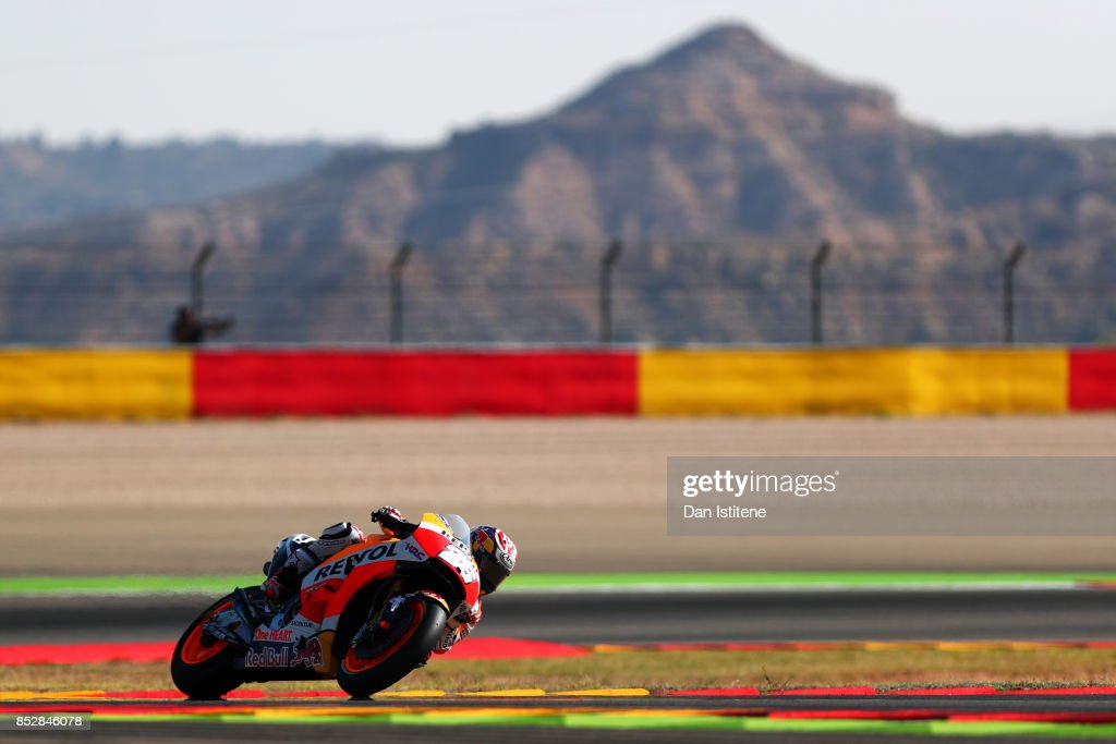 Dani Pedrosa of Spain and the Repsol Honda Team rides during warm-up before the MotoGP of Aragon at Motorland Aragon Circuit on September 24, 2017 in Alcaniz, Spain.