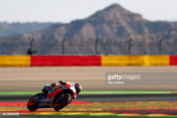 Dani Pedrosa of Spain and the Repsol Honda Team rides during warmup before the MotoGP of Aragon at Motorland Aragon Circuit on September 24 2017 in...