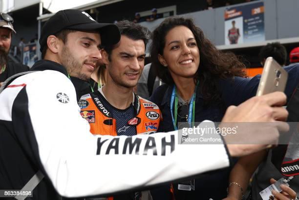 Dani Pedrosa rider of the REPSOL HONDA TEAM Honda poses with fans after free practice for the 2017 MotoGP of Australia at Phillip Island Grand Prix...
