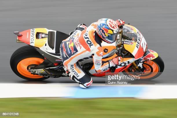 Dani Pedrosa rides the REPSOL HONDA TEAM Honda during practise ahead of qualifying for the 2017 MotoGP of Australia at Phillip Island Grand Prix...