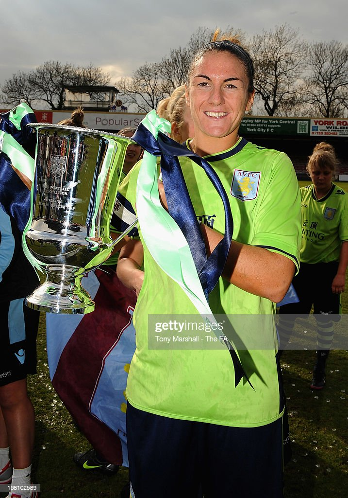 Dani Petrovic, captain of Aston Villa Ladies celebrates with the trophy after winning the FA Women's Premier League Cup Final between Aston Villa Ladies and Leeds United Ladies at Bootham Crescent Stadium on May 5, 2013 in York, England.