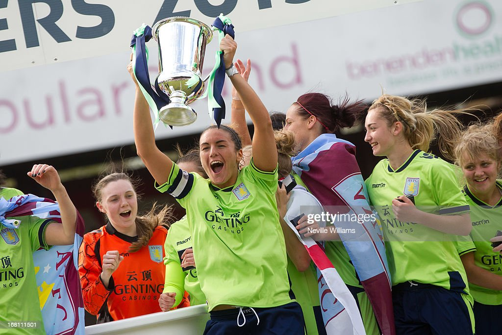 Dani Petrovic, captain of Aston Villa Ladies lifts the trophy after FA Women's Premier League Cup Final match on May 05, 2013 in York, England.