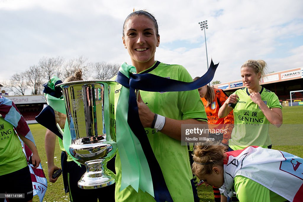 Dani Petrovic of Aston Villa Ladies poses with the trophy after the FA Women's Premier League Cup Final match against Leeds United Ladies on May 05, 2013 in York, England.