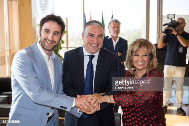 Dani Rovira Elias Bendodo and Maria Teresa Campos attend the appointment of Favorite And Adopted Sons of Malaga on September 26 2017 in Malaga Spain