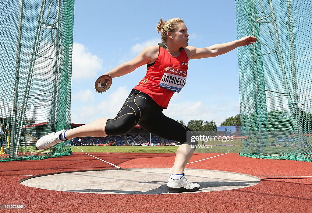 <a gi-track='captionPersonalityLinkClicked' href=/galleries/search?phrase=Dani+Samuels&family=editorial&specificpeople=591878 ng-click='$event.stopPropagation()'>Dani Samuels</a> of Australia competes in the Women's Discus Throw during the IAAF Diamond League at Alexander Stadium on June 30, 2013 in Birmingham, England.