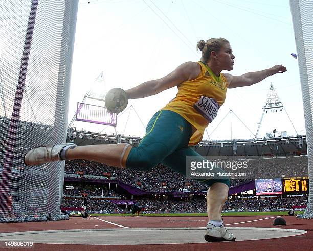 Dani Samuels of Australia competes in the Women's Discus Throw Final on Day 8 of the London 2012 Olympic Games at Olympic Stadium on August 4 2012 in...
