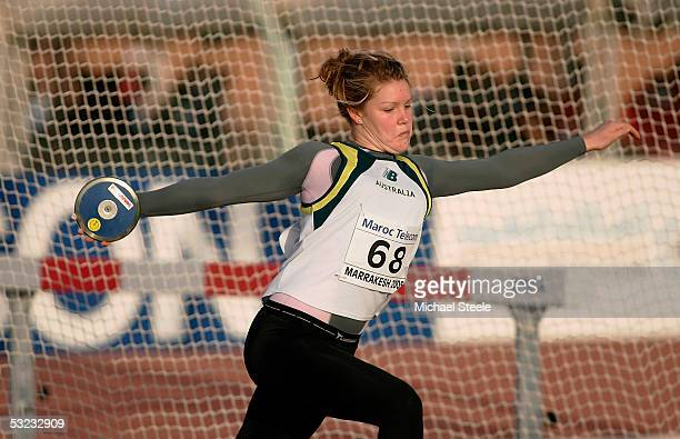 Dani Samuels of Australia in action during the girls discus qualification during the IAAF World Youth Championships Day One at the Sidi Youssef Ben...