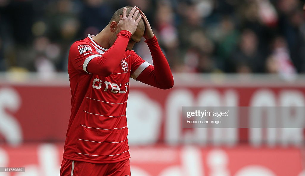 Dani Schahin of Duesseldorf reacts after missing the penalty during the Bundesliga match between Fortuna Duesseldorf 1895 and SpVgg Greuther Fuerth at Esprit-Arena on February 16, 2013 in Duesseldorf, Germany.