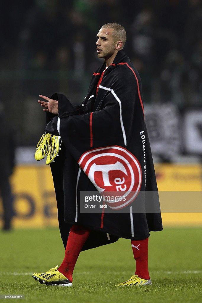 Dani Schahin of Duesseldorf reacts after the Bundesliga match between VfL Borussia Moenchengladbach v Fortuna Duesseldorf at Borussia Park Stadium on January 26, 2013 in Moenchengladbach, Germany.