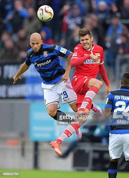 Dani Schahin of FSV Frankfurt and Christopher Trimmel of 1 FC Union Berlin during the match between FSV Frankfurt and Union Berlin on September 23...