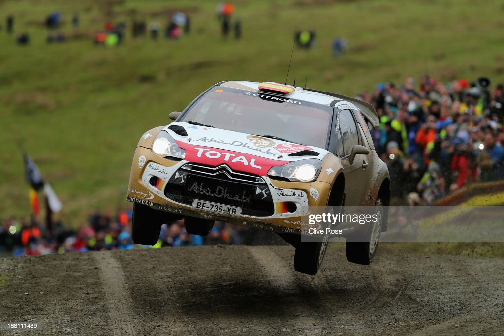 <a gi-track='captionPersonalityLinkClicked' href=/galleries/search?phrase=Dani+Sordo&family=editorial&specificpeople=666298 ng-click='$event.stopPropagation()'>Dani Sordo</a> and Carlos Del Barrio of Spain compete in the Citroën Total Abu Dhabi WRT during the sweet lamb stage of the FIA World Rally Championship Great Britain on November 15, 2013 in Llanidloes, Wales.