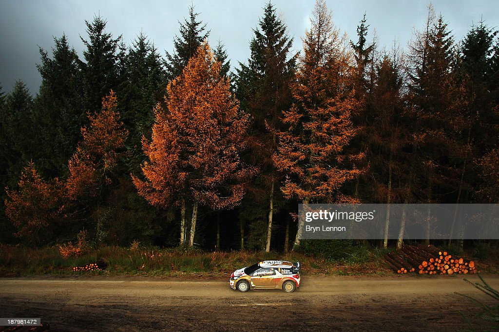 <a gi-track='captionPersonalityLinkClicked' href=/galleries/search?phrase=Dani+Sordo&family=editorial&specificpeople=666298 ng-click='$event.stopPropagation()'>Dani Sordo</a> and Carlos Del Barrio of Spain drive the Citroen DS3 WRC on the qualifying stage for the FIA World Rally Championship Great Britain on November 14, 2013 in Llandegla, Wales.