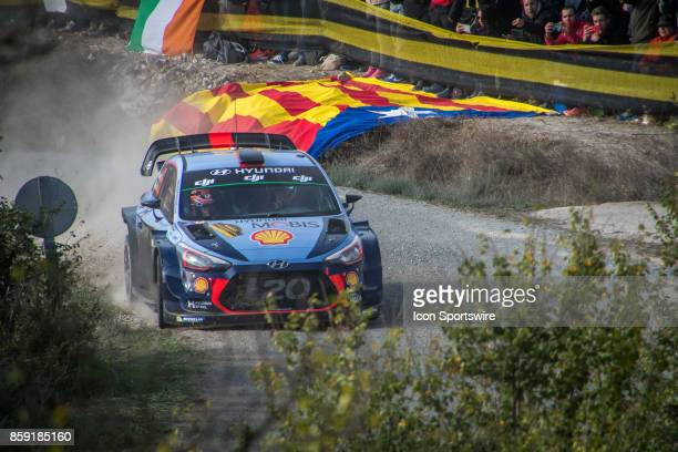 Dani Sordo and codriver Marc Marti of Hyundai Motorsport compete during the Savalla Stage of the Rally de Espana round of the 2017 FIA World Rally...