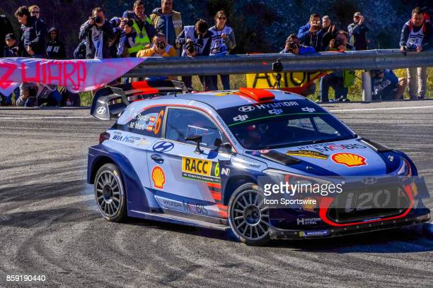 Dani Sordo and codriver Marc Marti of Hyundai Motorsport round the famous Riudecanyes roundabouts of the Rally de Espana round of the 2017 FIA World...